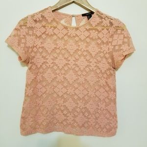 F21 Short Sleeve Geometric Embroidered Top, Sz S